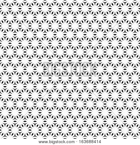 Vector monochrome seamless pattern, repeating geometric tiles. Simple abstract background with polygons angled figures & rhombuses. Endless texture for prints, stamping, digital projects, decoration, textile, furniture, clothing, wrapping