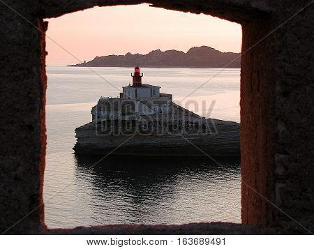 Lighthouse of La Madonetta. Monument in Bonifacio, Corsica, France.