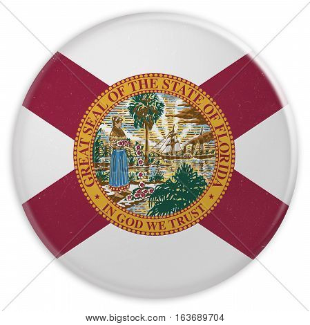 Vintage US State Button: Dirty Desaturated Florida Flag Badge 3d illustration on white background