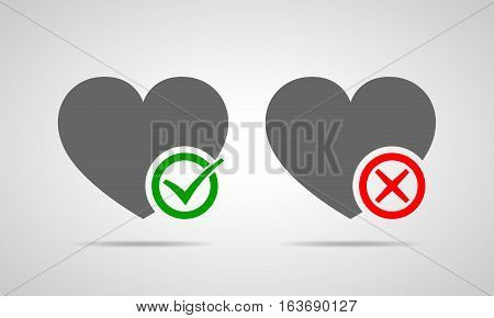 Hearts with Yes and No check marks. Yes and No check marks. Vector illustration. Gray hearts with red and green check marks on light background.