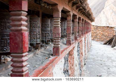 Closeup of Tibetan praying wheels. Common site along Annapurna circuit trek.