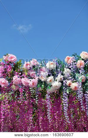 Background from many spring flowers on bottom side of photo under clear blue sky on sunny day vertical view