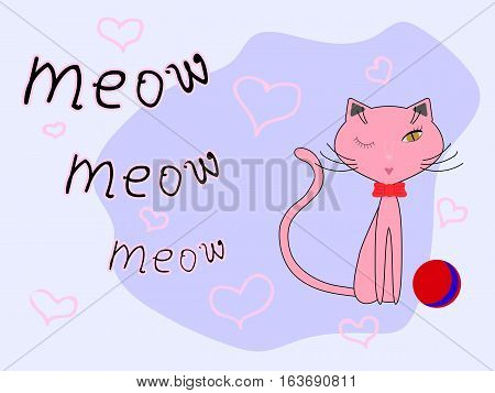 Pink cat, red bow and red-blue ball on a light lilac background with pink hearts. Cartoon styled vector illustration.