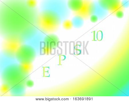 Abstract background with blurred circles and lines green, yellow and blue colors, vector illustration