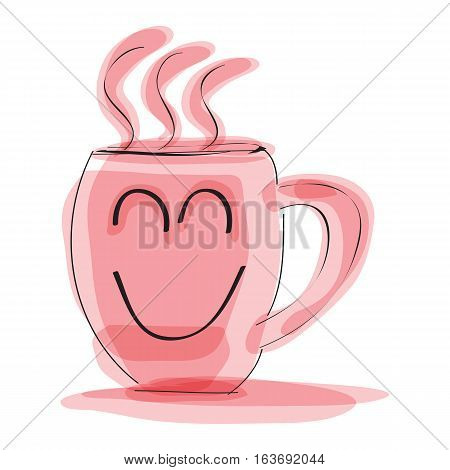 hand drawn a happy face mug in pink color on white background. vector illustration.