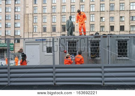 Moscow, Russia - August 25, 2010. On Triumphalnaya square in Moscow began the construction work