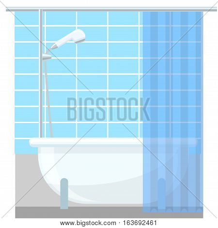Flat style illustration. Design modern vector bathroom