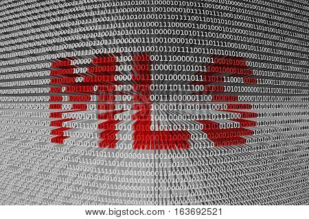 MLS presented in the form of binary code 3D illustration