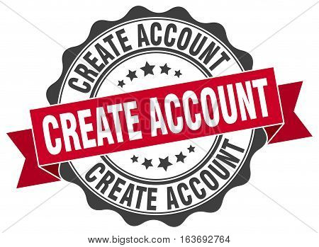 create account. stamp. sign. seal. round. retro. ribbon