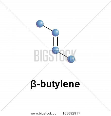 2-Butene, also known as 2-butylene, is an alkene with the formula C4H8, it can be used as the monomer for polybutene or co-polymer.  Vector skeletal formula.
