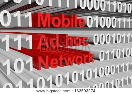 Mobile Ad hoc Network in the form of binary code, 3D illustration