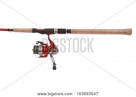 Fishing rod with a reel isolated on white background. Photo with clipping path