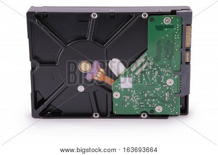 Computer hard disk isolated on white background. Clipping path inside.