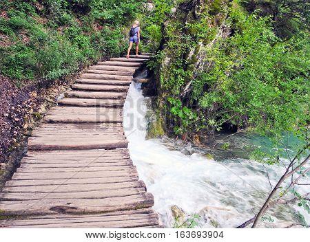Walkway in Plitvice Lakes National Park in Croatia.