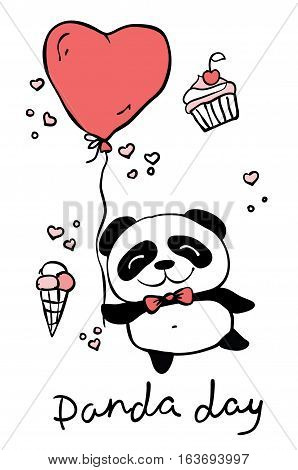 Panda day. Cute panda set with hand drawn text. Valentine vector background
