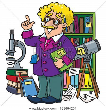 Childrens vector illustration of funny scientist or inventor. A man in glasses and suit with books, folders, microscope and telescope raised index finger. Profession ABC series.