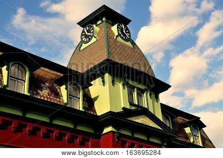 Bennington Vermont -September 18 2014: Mansard roof with clock tower at the 1880 North Bennington Railway Station