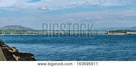 Panorama of te green steel bridge in Viana do Castelo Portugal