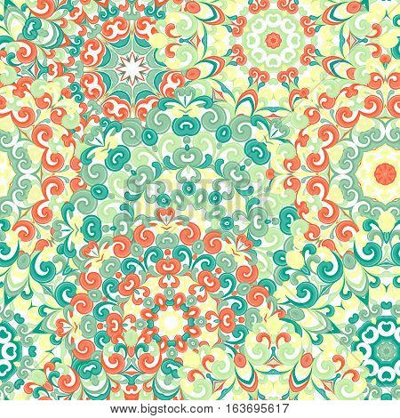Seamless colorful ethnic pattern with mandalas in oriental style. Round doilies with green, orange and yellow curls and swirls weaving in arabesque traditional lace ornament. Vector illustration.
