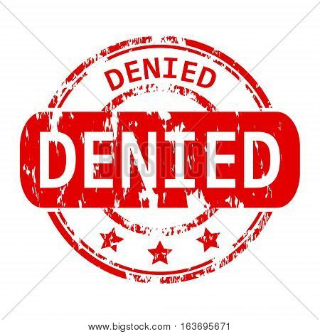 Rubber stamp with the word denied isolated from the background, vector illustration.