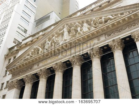 NEW YORK - APRIL 27 2016: Exterior of the New York stock exchange building. It is the world's largest stock exchange by market capitalization of its listed companies