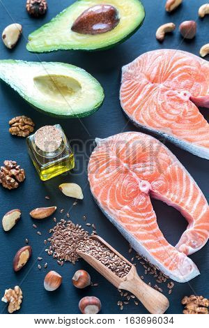 Food with Omega-3 fats on the wooden background