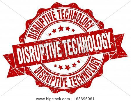 disruptive technology. stamp. sign. seal. round. retro. ribbon