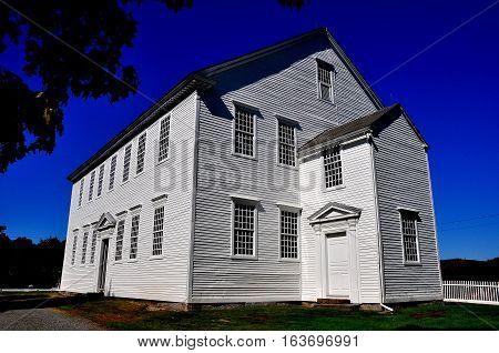 Rockingham Vermont - Setpember 18 2014: Austere white wooden 1787 Meeting House also known as the Old North Meeting House *