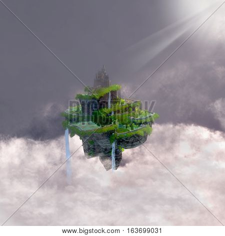 Castle in the Clouds 3D illustration - A fantasy realm of a castle with terraces floating in the clouds in a fairytale kingdom.