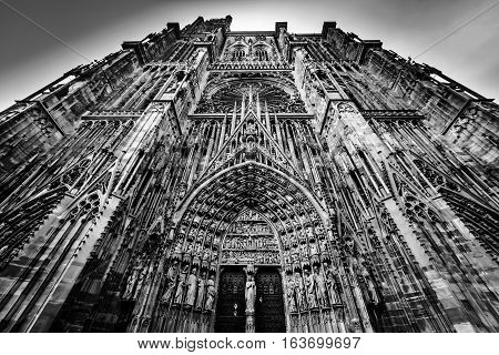 Strasbourg Cathedral Black And White View