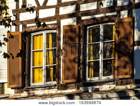Classic Windows In Timber-framed House, Alsace