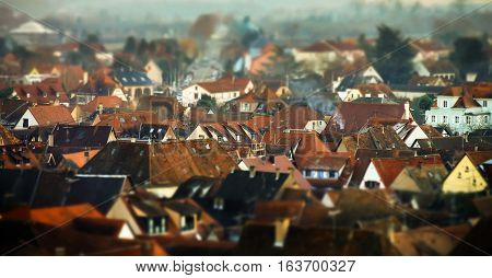 Obernai Aerial View On Winter Sunset