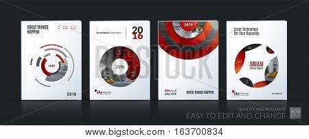 Business vector. Brochure template layout, cover soft design annual report, magazine, flyer in A4 with red circle, rounds, sphere for PR, business, tech. Abstract art with overlay effect. Mega set