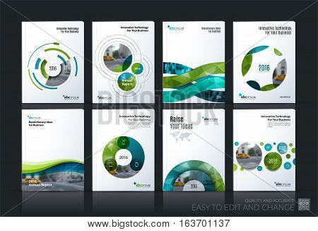 Business vector. Brochure template layout, cover soft design annual report, magazine, flyer in A4 with green circle, rounds, sphere for PR, business, tech. Abstract art with overlay effect. Mega set