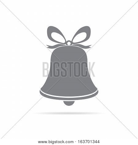 Christmas hand bell icon isolated. Simple gray hand bell with bow. Vector illustration.