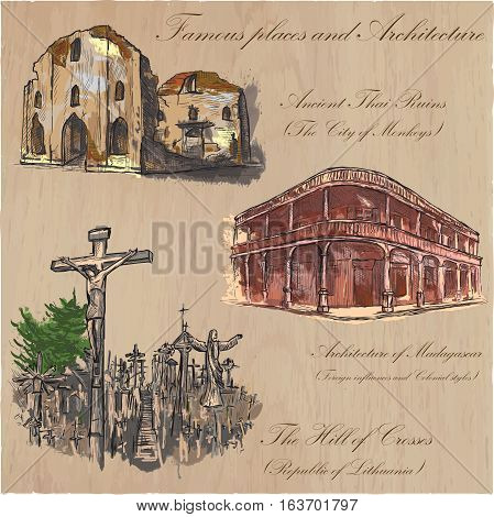 Architecture and famous places around the World. Collection of hand drawn colored vector illustrations. Each drawing comprises few layers of outlines the colored background is isolated.