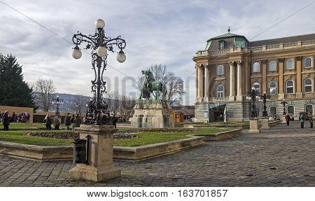 BUDAPEST HUNGARY - DECEMBER 10 2016: The Royal Palace (Buda Castle). Castle Hill District (Varhegy) Buda Budapest Hungary.