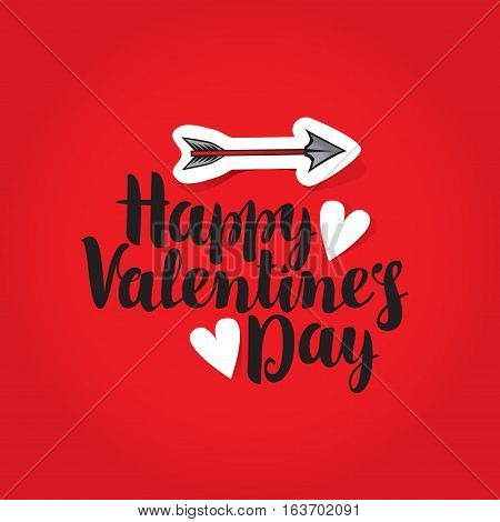 vector greeting card with inscription happy valentines day with hearts and arrow