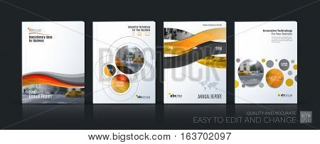 Business vector. Brochure template layout, cover soft design annual report, magazine, flyer in A4 with yellow circle, rounds, sphere for PR, business, tech. Abstract art with overlay effect. Mega set