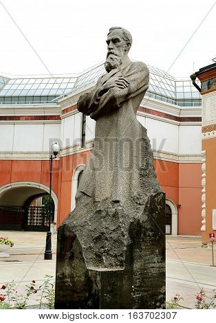 Photos of sculpture art patron Tretyakov in Moscow