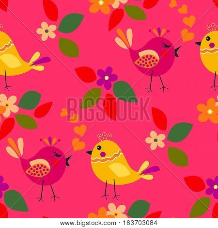 Cute birds seamless pattern with little flower and leaf on a pink background.