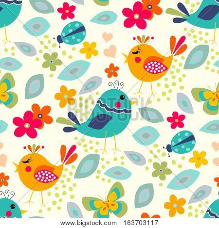 Cute birds seamless pattern with little flowers and butterfly, ladybug