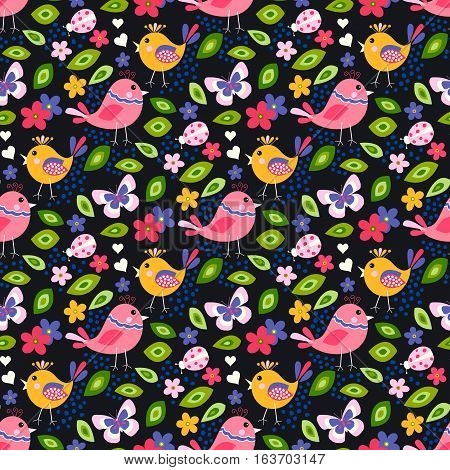 Cute birds seamless pattern with little flowers and butterfly, ladybug on a black background.