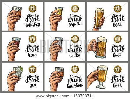 Male hand holding a glasses with alcohol drinks and antique pocket watch. Vintage vector engraving illustration for poster invitation to party. Time to Drink lettering. Isolated on white background.