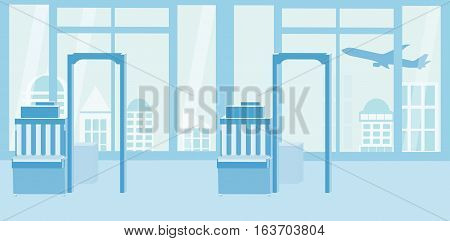 Background Of Airport Interiors. Travel Concept. Vector Illustration Eps 10 In Flat Style. Blue Silh