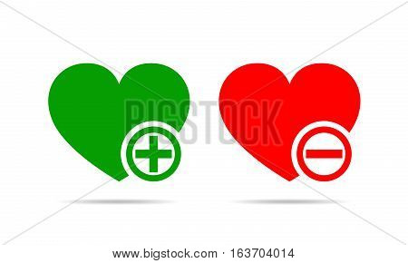 Hearts with plus and minus marks. Yes and No concept. Vector illustration. Red and green hearts with plus and minus mark on white background.