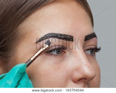 makeup artist applies paint henna on previously plucked design trimmed eyebrows in a beauty salon in the session correction. Professional care for face.