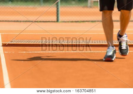 Tennis court grooming, toned image, horizontal image