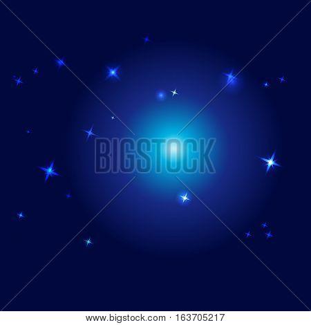 vector night sky - vector illustration blue