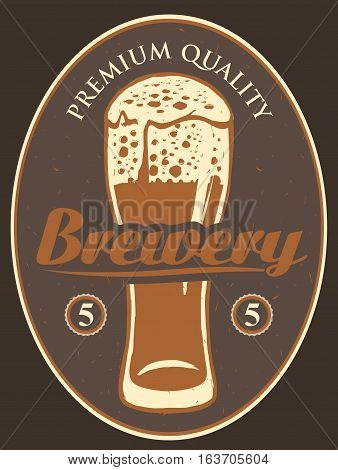 label for the brewery with a beer glass